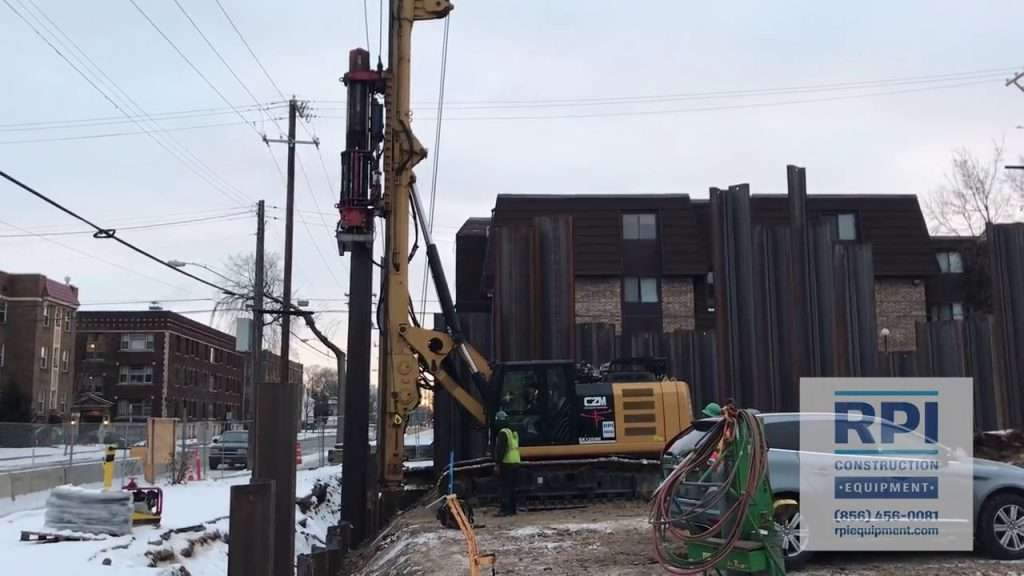 Pile Rig Driving Sheet Pile Video